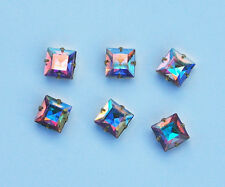 VINTAGE 6 SQUARE SET IN BRASS CRYSTAL AB AURORA BOREALIS SWAROVSKI ELEMENTS 8mm