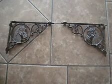 NEW LOT 2  ANTIQUE STYLE CAST IRON HORSE BRACE WESTERN SHELF BRACKETS BRACES