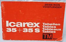 Zeiss Ikon Icarex 35 & 35S lens tables manual