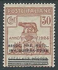 1924 REGNO PARASTATALI INV. GUERRA ROMA 30 CENT MH * - M39-6
