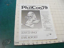 HIGH GRADE sci fi ad handout, PHIL CON 1979 picked up in 1979 single sided