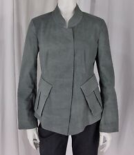 Donna Karan New York sz 8 Sage Green Cotton Blend LS Band Collar Jacket