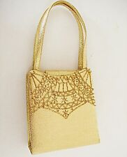 VINTAGE 60S STYLE CORDED SHOULDER STRAP OR DOUBLE HANDLES EVENING BAG FARFALLA