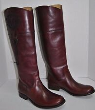 New Frye Melissa Logo Wine Leather Riding Boot Size 8 B $438