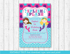 Mermaid Pool Party Birthday Invitation Printable Editable PDF