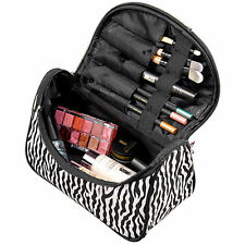 Zebra-stripe Makeup Bag Leather Waterproof Cosmetic Pouch Travel Multifunction