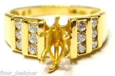 Ladies 10K solid Yellow Gold Engagement Setting fine ring CZ heavy sz 6.5 VTG