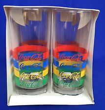 Vintage Coca Cola Glasses Set of 4 New Coke Tumblers Striped New In Package 1987