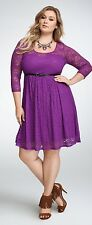 New Retro Vintage Pinup Torrid Purple Sweetheart 3/4 Sleeve Lace Skater Dress 2x