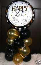 "18"" FOIL BALLOON  TABLE DECORATION DISPLAY HAPPY 21ST BIRTHDAY GOLD & BLACK"
