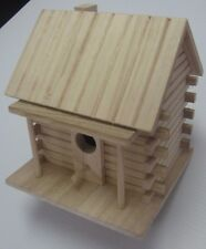 READY TO FINISH WOOD LOG CABIN BIRDHOUSE - UNFINISHED PAINT STAIN
