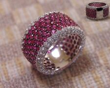 LARGE 6.65ct PAVE BAND RING (18k white gold) WITH 265 RUBIES & WHITE DIAMONDS