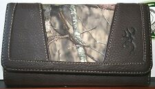 BROWNING & MOSSY OAK CAMO WALLET - LADIES, WOMENS CAMOUFLAGE BILLFOLD - SNAP