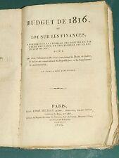 Budget de 1816 ou Loi sur les finances adoptée par la chambre des députés