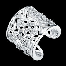 925 Sterling Silver Filled Rings Womens Heart CZ Jewelry Wholesale Birthday Gift