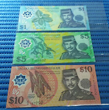 Negara Brunei Darussalam C Series $1, $5 and $10 Note Uncirculated Currency