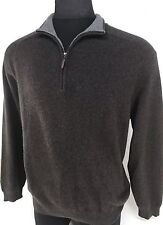 SAKS FIFTH AVE XL 100% CASHMERE SWEATER BROWN 1/4 / HALF ZIP MEN'S XL