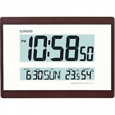 Casio Digital Lcd Calendar Temperature Office Home Indoor Wall Clock, Brown