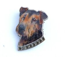 Airedale Welsh Terrier Vintage Badge Brooch Pin Chrome and Enamel