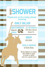 30 Polo Invitation Cards Light Blue Brown Baby Boy Shower Invites Personalized