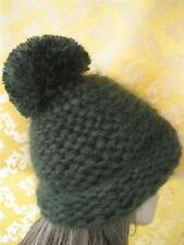 Thick Hand knitted Winter Mohair  Hat Ski  Green