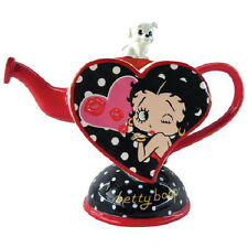 Betty Boop and Pudgy Kisses From Betty Ceramic 27 oz Heart Teapot NEW UNUSED