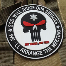 PUNISHER SNOWFLAKE MORALE BADGE GOD WILL JUDGE OUR ENEMIES TACTICAL PATCH