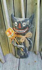 Primitive Folk Art Halloween Black Cat Doll with Pumpkin stick