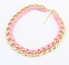 Occident Fashion Charm Pink Hand Made Cloth Gold Plated Chain Bib Necklace