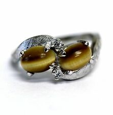 10k white gold womens brown tiger's eye cz gemstone ring 2.9g estate estate