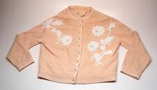 Vintage Pringle Cashmere Beaded Cardigan Peach Coral with White Beads AS IS