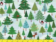 Penguins & Reindeer in Christmas Trees Quilting Fabric by Yard #3173