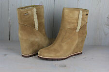 UGG JADE CHESTNUT SUEDE  WEDGE SHEARLING TRIM WOMENS ANKLE  BOOTS US 12  NIB