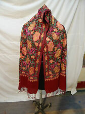 multi color, Crewel Embroidered Wool Shawl. Kashmir, Ari Embroidery 99