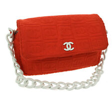 Auth CHANEL CC Single Chain Shoulder Bag Orange White Pile Plastic VTG V08413