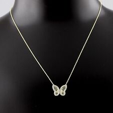 """Womens 925 Sterling Silver CZ Pave Gold Plated Butterfly Pendant Necklace 16"""""""