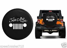 "Jeep Life Grill Wrangler JK TJ Spare Tire Cover Vinyl Black 32-33"" New Free Ship"