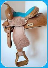"Popular Kid Western Mini Pony Trail Barrel Saddle 10"" BLUE Natural Oak leaf NEW!"