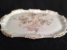 Limoges France  Trinket/Jewelry Tray with Floral design and Gold Trim