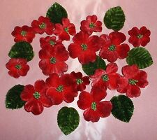 VINTAGE style VELVET floral Millinery 24 pc. Lot RED flowers DOLL Hats & Clothes
