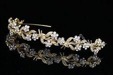 Gold Bridal Headpiece Rhinestones Crystal Wedding Headband Tiara V675