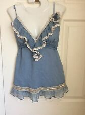 RIVER ISLAND CREAM LACE AIRFORCE BLUE SILK FRILLY BLOUSE size 14 BNWT new £29.99