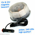 12v-24v SUPERBRIGHT 10W LED BEACON FLASHING LIGHT BAR AMBER MAGNETIC RECOVERY UK
