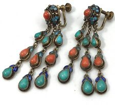 Chinese Export Silver Enamel Turquoise Coral Screw back Earrings N95