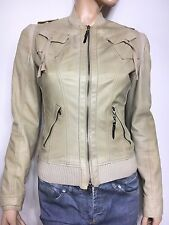 CNC COSTUME NATIONAL beige leather jacket - S 42 It. as 38F  - bomber-blouson