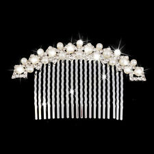 Bridal Wedding Pearls Hair Comb Clip Slide Tiara Diamante Crystal Rhinestone