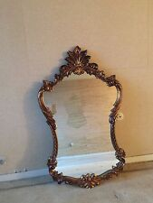 SHABBY VINTAGE ORNATE  ROCOCO FLORAL ROSE RHINESTONE JEWELRY WALL MIRROR