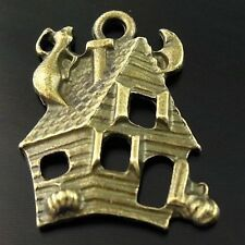 Antique Bronze Tone Halloween Haunted House Pendant - Charm
