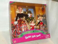 Mattel Barbie 1998, Holiday Sisters Barbie, Kelly, & Stacie Gift Set, (NIP), W