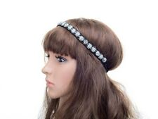 VINTAGE DECO FLAPPER 20s SILVER CRYSTAL DIAMANTE BEADED HEADBAND WEDDING BRIDAL